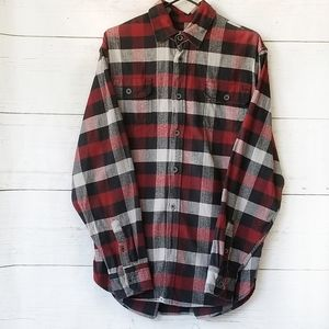 Jachs Flannel Plaid Black Red Gray Medium